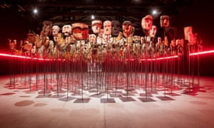 Werken by Bernardo Oyarzun at the Chile pavilion, which features over 1,000 Mapuche kollong masks, traditionally used in Chilean ceremonies.