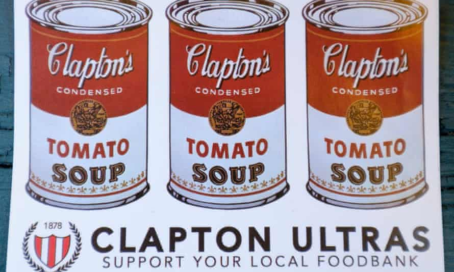 A Clapton Ultras sticker promoting donations to the local foodbank, specifically to help out refugees and migrants.