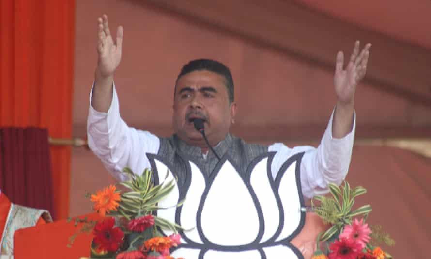 Suwando officials address a BJP rally in Kolkata