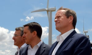 Opposition leader Bill Shorten, shadow environment minister Mark Butler (centre) and shadow attorney general Mark Dreyfus during a visit to the Woodlawn wind farm near Canberra.