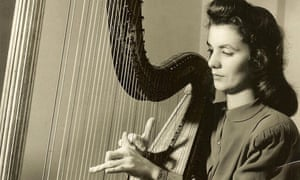 Aileen MacArdle playing the harp at BBC Northern Ireland Service in 1946