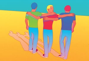 Colourful illustration of three men with arms round each other