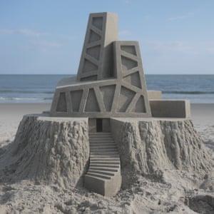 Modernist sandcastles constructed by American artist Calvin Seibert.