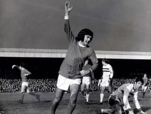 George Best celebrates after scoring his sixth goal in Manchester United's 8-2 win at Northampton.