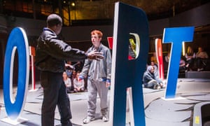 Abdul Salis and Frankie Fox in Boy by Leo Butler, at the Almeida theatre.