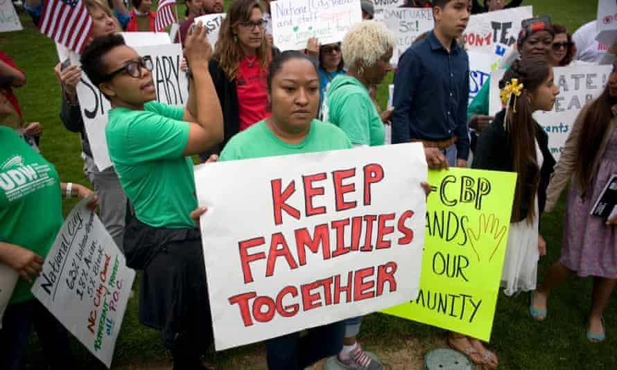 Protestors rally in support of undocumented immigrants and the Duarte family in National City, California