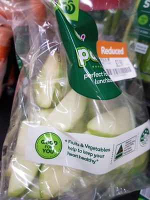 Pre-sliced apple, individually wrapped, within a larger plastic bag