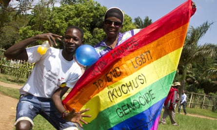 Ugandan men at a gay pride parade.