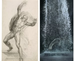 Michelangelo's The Risen Christ, c1532-3. Right: Tristan's Ascension (The Sound of a Mountain Under a Waterfall), 2005 by Bill Viola.