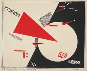 El Lissitzky's 1919 poster Beat the Whites with the Red Wedge.