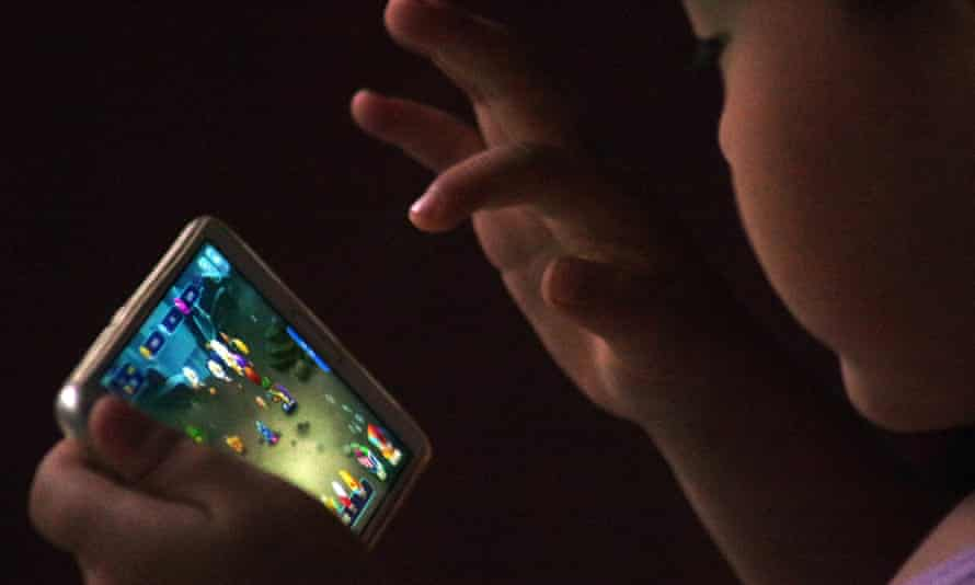 A child plays an online mobile game