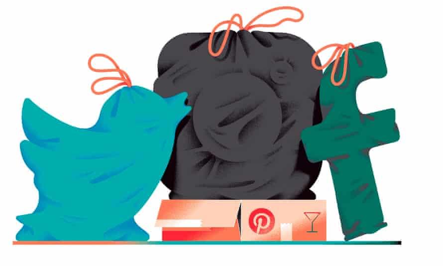 Illustration of Twitter, Facebook, Instagram and Pinterest logos in tie sacks