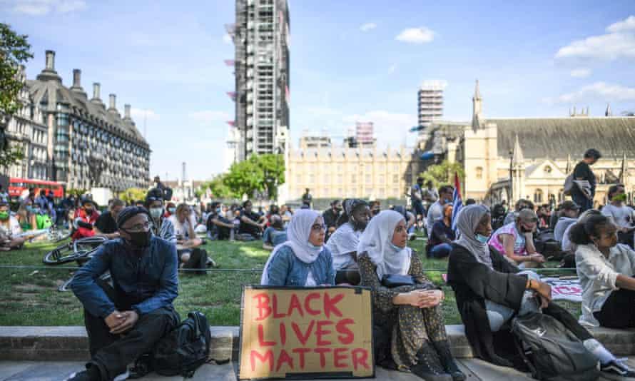 A Black Lives Matter protest in Westminster, London on 12 July