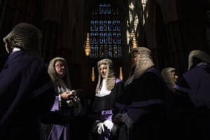 High court judges arrive at Westminster Abbey for an annual service to mark the start of the legal year. London