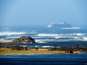 Hustadvika, Norway. Cruise ship Viking Sky drifts during storm conditions off the west coast of Norway