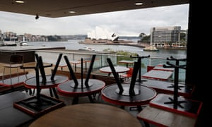 The Museum of Contemporary Art cafe prepares to reopen from 16 June 2020 in Sydney, Australia.