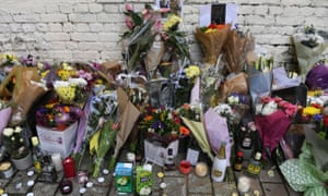 Flowers and tributes left for 18 year old Israel Ogunsola in Hackney, north east London