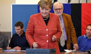 Angela Merkel casts her vote during the German federal elections.