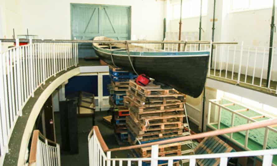 The Klondyke, raised up on pallets so it can be removed from the museum.