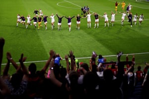 England players celebrate following their side's victory over Norway in the quarter final at Stade Oceane.