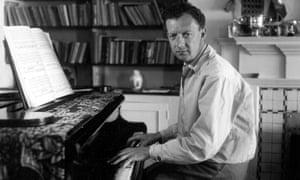 Benjamin Britten at the piano. in Aldeburgh in the 50s.