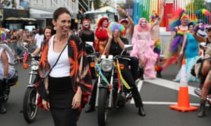 New Zealand's prime minister, Jacinda Ardern, at the Pride parade in Auckland. The new rules for schools were welcomed by LGBTQ groups.