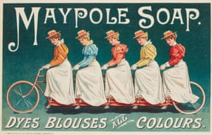 An advert for Maypole Soap demonstrating the range and effectiveness of its dyes. Five women are seated on a 'quint', reflecting the contemporary craze for cycling, and the latest colours in the range.