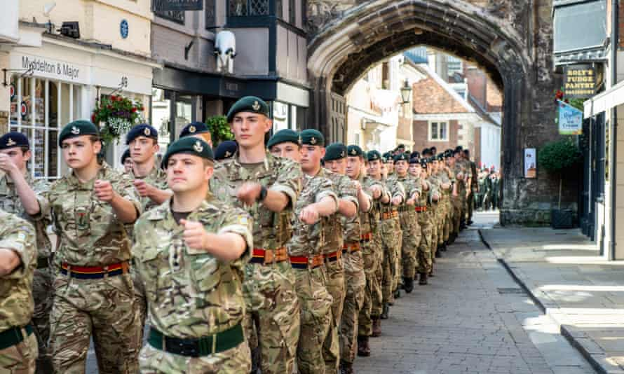 Members of the British armed forces marching in Salisbury, June 2019