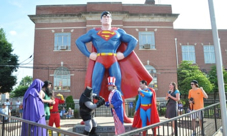 The Superman festival in Metropolis featured and opening skit with Uncle Sam coming to the aid of Superman.