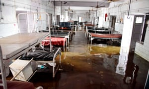 A waterlogged ward in a hospital in Patna, capital of Bihar, after vast areas of the state were inundated by delayed monsoon rains.