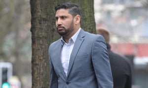 Mustafa Bashir leaving Manchester crown court, where he pleaded guilty to occasioning actual bodily harm.