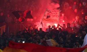 Roma fans let off flares before their stunning 3-0 win over Barcelona at the Stadio Olimpico. They need to win by the same margin on Wednesday to overturn Liverpool's 5-2 advantage.
