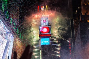Fireworks go off as the new year is rung in in Times Square in New York City.