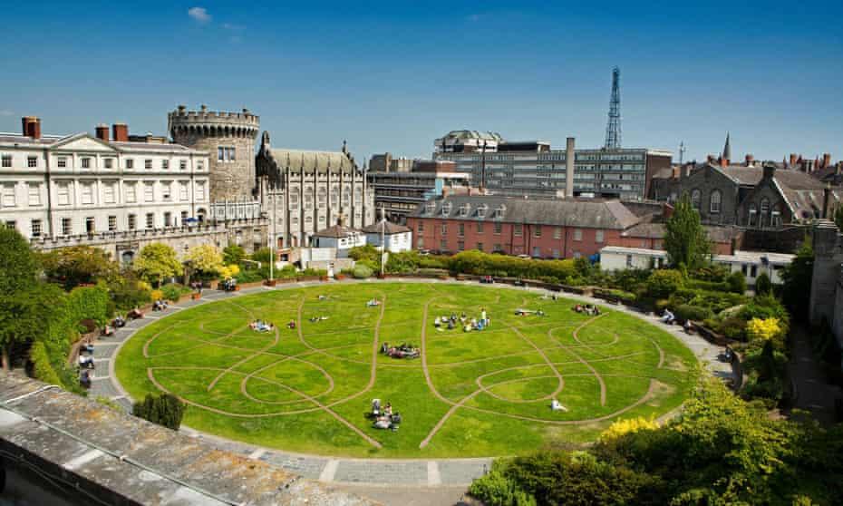Fair city … Dublin Castle and the Dubh Linn Garden from Chester Beatty Library Roof Garden.