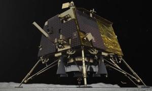An artist's illustration of the Vikram moon lander.