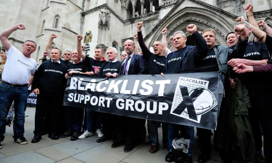 Members of the Blacklist Support Group outside the Royal Courts of Justice
