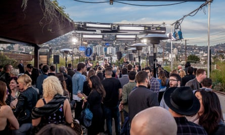 The scene from a rooftop bar in LA as Pete Tong broadcast his show.