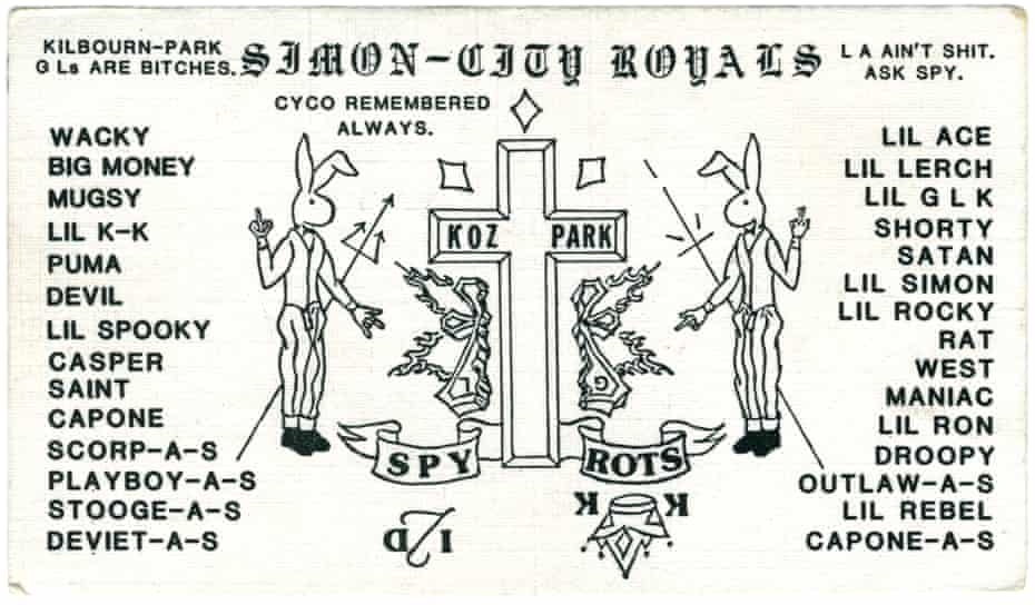 The Simon City Royals' business card. In the middle is one of the primary symbols of the Simon City Royals – a cross with three slashes above. Behind this is a broken flaming cross representing the Almighty Gaylords (a longtime enemy) with an upside down G and L to make this point clear.