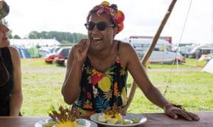 Rhik Samadder eats squirrel at a festival.