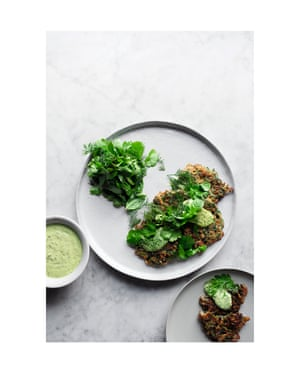 Photos by Jonathan Lovekin for Yotam Ottolenghi's book Simple. Iranian herb fritters recipe picture