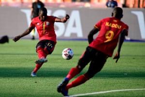 Uganda's midfielder Farouk Miya fires in a free-kick.