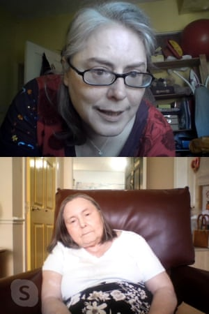 Susan Birch, top, talking to her mother Ruby Birch by Skype in her care home