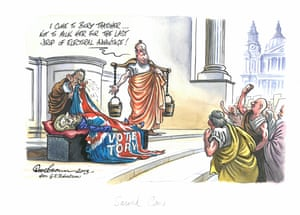 """Dave Brown Sacred Cow - published Independent, 13 April 2013 Prime Minister David Cameron, as Mark Antony from Julius Caesar, stands beside the body of Margaret Thatcher. He tells the gathered crowd that he will not """"milk"""" her death for """"electoral vantage"""". However, the milk pails he carries suggest otherwise. Thatcher died in April 2013, a month before a round of local elections. This cartoon is a parody of George Edward Robertson's painting Mark Antony's Oration (1920)"""