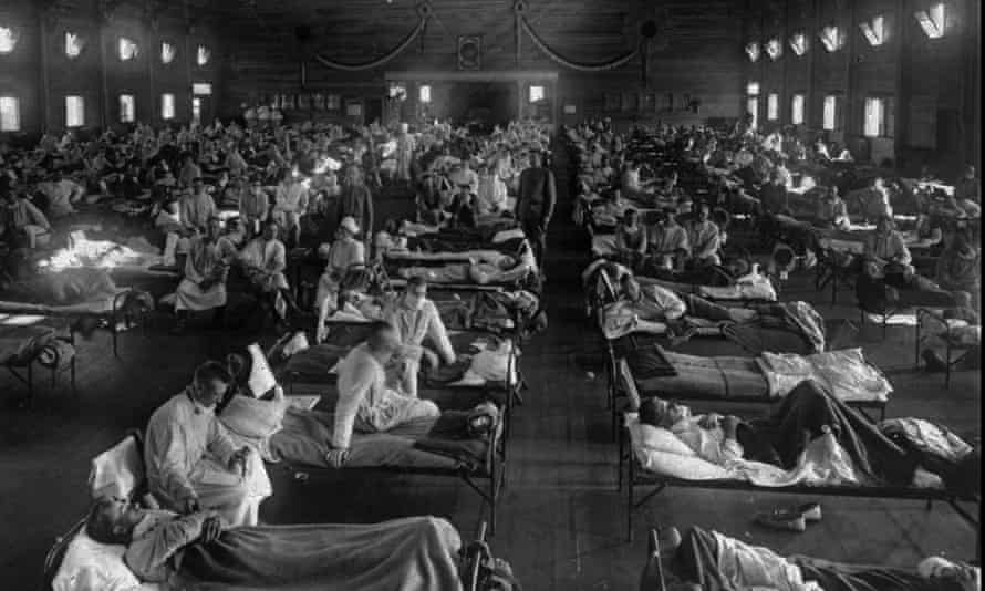 People with Spanish flu fill an emergency hospital near Fort Riley, Kansas in 1918.