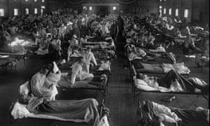 Flu victims in an American emergency hospital near Fort Riley, Kansas, 1918.'