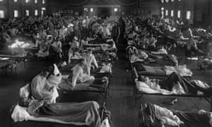 Influenza victims in an emergency hospital near Camp Funston (now Fort Riley) in Kansas in 1918.