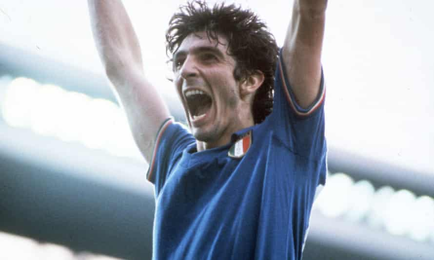 Paolo Rossi in action for Italy at the 1982 World Cup.