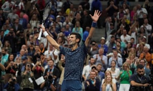 Novak Djokovic celebrates his victory at the US Open