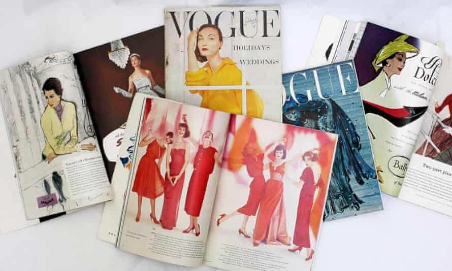 Copies of Vogue magazine from fashion designer Katharine Hamnett's collection