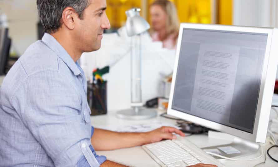 Man using desktop PC